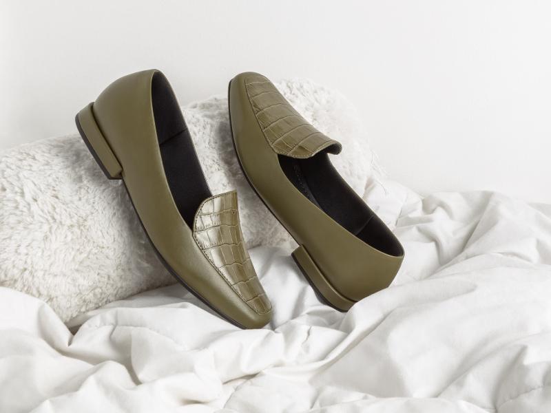 Loafer verde militar, modelo da coleção de Inverno 2021 da Usaflex